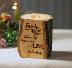 Burned Log Candle Holder - Rustic Home Decor - Primitive Decor - Reclaimed Tealight holder - Rustic Tealight Holder - Wedding Centerpiece