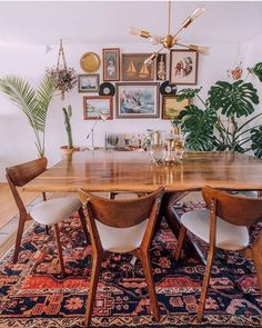 Dining Room Table Decor, Dining Room Colors, Dining Room Walls, Dining Room Design, Kitchen Design, Dining Area, Boho Living Room, Living Room Decor, Bohemian Living
