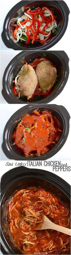 This luscious marinara infused shredded chicken and peppers is as easy as 1-2-3 and can be served a number of ways. Step by step photos. Slow Cooker Italian Chicken and Peppers - BudgetBytes.com