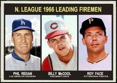 1967 Topps NL Leading Firemen: Phil Regan, Los Angeles Dodgers,  Billy McCool, Cincinnati Reds, Roy Face, Pttsburgh Pirates, Baseball Cards That Never Were