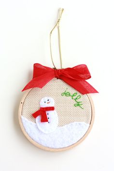 "Supper Cute!!!!  Jolly Snowman 3"" Hoop Art Christmas Ornament. $9.00, via Etsy."