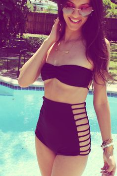 Strappy High Waist Bikini Bottoms - Solid Black