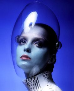 Model Donna Mitchell in space age fashion photographed by Clive Arrowsmith.