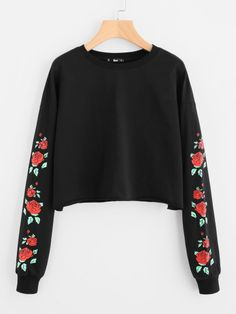 Drop Shoulder Rose Print Crop Sweatshirt