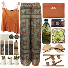 A fashion look from December 2013 featuring summer tank tops, print pants and buckle sandals. Browse and shop related looks.