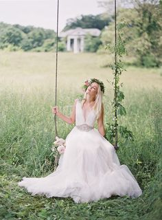 Romantic swing bridal portrait | Anne Robert Photography | see more on: http://burnettsboards.com/2014/03/dreamy-abandoned-mansion-inspiration-shoot/