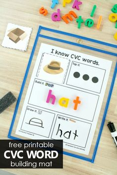 Free Printable CVC Word Building Mat - Fantastic Fun & Learning - Help kindergarteners and first graders learn to spell short vowel CVC words with this free printabl - Kindergarten Language Arts, Homeschool Kindergarten, Kindergarten Lessons, Kindergarten Reading, Homeschooling, Preschool Learning Activities, Fun Learning, Reading Activities, Toddler Learning