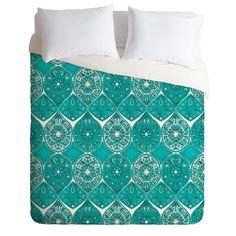 Sharon Turner Saffreya Turquoise Duvet Cover | DENY Designs Home Accessories