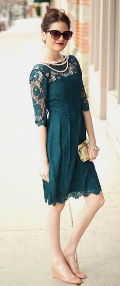 Classy teal dress with lace