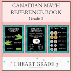 This Grade 3 Math Reference Booklet gives your students all the information they need to become independent while working on in-class and math assignments. Third Grade Math, Grade 3, Math Math, Math Fractions, Math Games, Maths, Teaching Fractions, Teaching Math, Math Activities