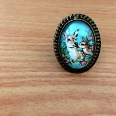 Bambi Deer Mother & daughter Ring Vintage style Art by XenaStyle