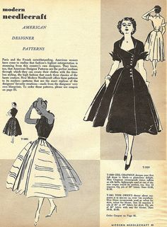 Beautiful full skirted dress fashions from 1952. #vintage #1950s #dresses