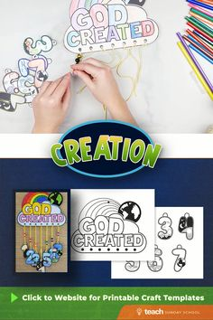 Teach kids about the 7 days of creation with this easy Sunday School craft! Templates can be printed from the website. Gods Creation Crafts, Creation Preschool Craft, Creation Activities, Bible Activities For Kids, Bible Crafts For Kids, Bible Study For Kids, Preschool Bible, Bible Lessons For Kids, Preschool Crafts