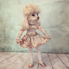 poodle doll by Annie Montgomerie Textile Sculpture, Soft Sculpture, Textile Art, Marionette, Animal Society, Animal Costumes, Curious Creatures, Creepy Dolls, Little Doll