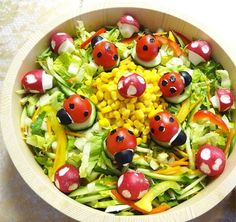 This adorable ladybug salad is perfect for Easter.