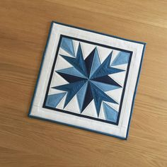 Quilted Table Topper, Blue Fabric Table Runner, Quilted Wall Hanging, Mini Wall Quilt, Patchwork Candle Mat, Table Mat, Table Centrepiece by SewnByVicki on Etsy https://www.etsy.com/uk/listing/567355474/quilted-table-topper-blue-fabric-table