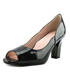 TARYN ROSE | Taryn Rose Francis Women  Peep-Toe Leather Black Heels #Shoes #Pumps & High Heels #TARYN ROSE