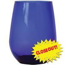 bulk cobalt blue budshaped stemless wine glasses 17 oz at dollartree - Bulk Wine Glasses
