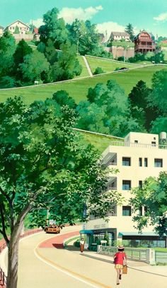 """""""Backgrounds from Whisper Of The Heart (Mimi wo sumaseba, studio Ghibli) :"""" Art Studio Ghibli, Studio Ghibli Movies, Hayao Miyazaki, Totoro, Aesthetic Backgrounds, Aesthetic Wallpapers, Animes Wallpapers, Cute Wallpapers, Film Animation Japonais"""