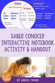 Spanish Saber and Conocer Interactive Notebook Activity and Student Handout Spanish Interactive Notebook, Interactive Notebooks, Ap Spanish, Spanish Lessons, French Teacher, Student Engagement, Lesson Plans, Sentences, Vocabulary