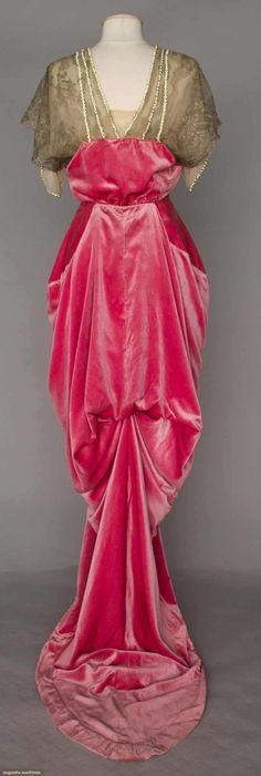 RASPBERRY VELVET HOBBLE SKIRT GOWN, PARIS, 1910-1914Augusta Auctions