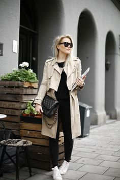 Long Trench / Black Jeans / Chanel Bag