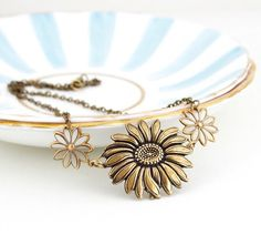 Sunflower Necklace, Statement Necklace, Brass Sunflower, Etched Brass Floral Necklace, Metal Necklace, Girlfriend Gift, Gift For Woman by…