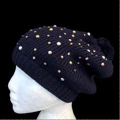 Black Fashion Winter Beanie Hat Warmer Rhinestone Bling Cuff Knit Ski Cap Ski Fashion, Winter Fashion, Cool Belt Buckles, Ski Hats, Pom Pom Hat, Winter Accessories, Hat Sizes, Beanie Hats, Winter Hats