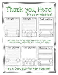 Free printable writing paper to thank military members--Thank you, Hero!  Great for Veteran's Day.