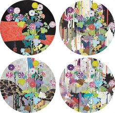 Takashi Murakami, 4 works; Kansei Kõrin Red Stream; I Recall The Time When My Feet Lifted Off the Ground, Every So Slightly - Korin - Chrysanthemum; Kansei: Like The River's Flow; and Kansei: Abstraction
