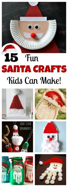 Wonderful collection of 15 fun Santa Crafts kids can make! Paper plate crafts, popsicle crafts, handprint crafts, ornament crafts, and more! Kids Christmas Ornaments, Santa Ornaments, Christmas Crafts For Kids, Christmas Art, Holiday Crafts, Christmas Ideas, Christmas Decorations, Christmas 2017, Christmas Printables