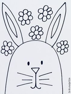 Pasen / Paashaas Kleurplaat 8x | Pasen Paashaas paaskonijn-tekenen | Tekening Kleurplaat Kleurplaten-haasje | Paasknutsel Paashaasjes -uitknippen Doodle Drawings, Colouring Pages, Easter Crafts, Easter Bunny, Kids Learning, Art Lessons, Activities For Kids, Embroidery Designs, Doodles
