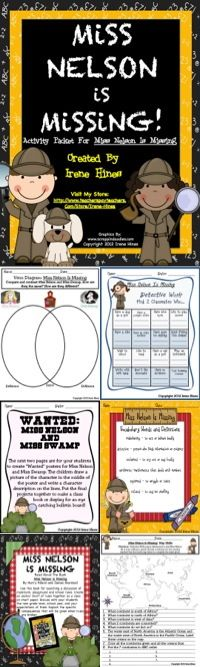 """THIS BEST SELLING UNIT IS NOW 77 PAGES!  Miss Nelson Is Missing :77 pages of ideas, games, activities, graphic organizers, projects & printables that correlate with the book """"Miss Nelson Is Missing.""""~Class Discussion Questions & Ideas~Vocabulary & Definition List~Variety of Graphic Organizers~Reading Comprehension~Writing & Drawing Activities ~2 Double Match Games~ABC Order Activity Cards~Antonyms~Foldables~Venn Diagrams ~Making Connections ~ Story Maps ~ Math Word Problems ~ Map Skills $"""