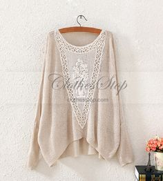 Casual Knit Shirt with Lace | Clothesstop.com