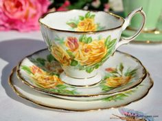 Royal Albert Tea Rose Vintage China Teacup Trio c.1940s