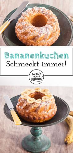 Einfacher Bananenkuchen This banana cake basic recipe is very easy and can be easily modified. The simple banana cake is an absolute cake classic. Rightly, because the banana cake always tastes good! Easy Donut Recipe, Donut Recipes, Easy Cake Recipes, Cupcake Recipes, Dessert Recipes, Basic Recipe, Cookies Roses, Cherry Muffins, Homemade Donuts