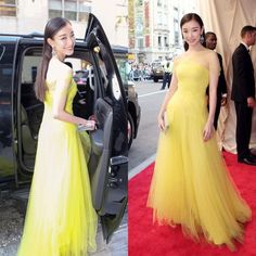 2015 Met Gala Ni Ni Elegant Prom Dresses Met Ball Soft Tulle Yellow Evening Gowns Long Formal Strapless Gorgeous Celebrity Red Carpet Gowns from Idodress,$144.68 | DHgate.com