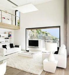 Traumhaus inneneinrichtung modern  wandverkleidung holz modernes wohnzimmer kamin ecru sofa ...