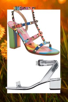 Multicolor Studded Sandal with Block Heel, VALENTINO (Available at Nordstrom), $1,345; Silver Block Heel Ankle Strap Sandal, ZARA, $60   - Cosmopolitan.com