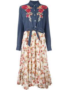 ANTONIO MARRAS floral patch longsleeveled dress. #antoniomarras #cloth #dress