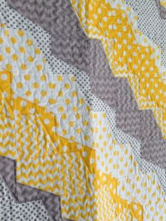 Unique and Beautiful Quilt Design!  Chevron & Polka Dot Yellow Gray Quilt by HomeSewnStudio on Etsy