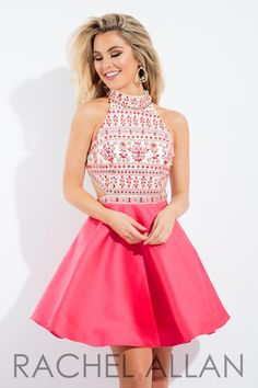 Mikado a-line with fully beaded bodice and cut outs Perfect for prom, homecoming, formal or social occasions! Click here for the Rachel Allan sizing chart! *Note: Lead times will vary. All dresses are