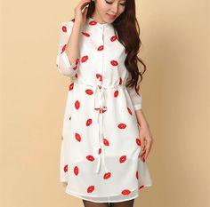 Vestidos femininos 2016 herbst niedlichen roten lippen print stehkragen gefüttert kleider frauen chiffon dress mit schärpen plus größe s-4xl