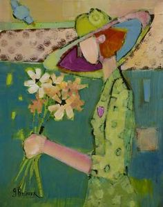 Women Who Love Flowers IV Genevieve Pfeiffer Collages, Woman Painting, Various Artists, Love Flowers, Figurative Art, Artist At Work, Beautiful Dolls, Impressionist, Whimsical