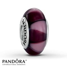 Pandora Charm  Purple Glass Sterling Silver