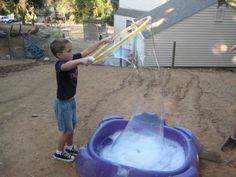 Giant soap bubble idea - hula-hoop & kiddie pool