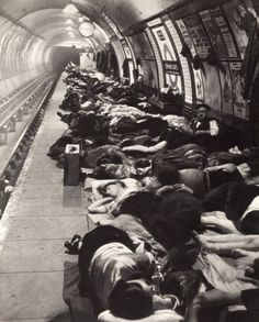 London Underground 1941  People sheltered there from the bombing every night