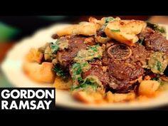 Lamb with Fried Bread - Gordon Ramsay sirloin chop Veal Recipes, Garlic Recipes, Lamb Recipes, Gordon Ramsay Youtube, Chef Gordon Ramsay, Kitchen Recipes, Cooking Recipes, Cooking The Perfect Steak, Gordon Ramsey