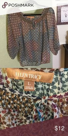 """Beautiful sheer top Super cute. Pit to pit 23"""" length 24"""". Beautiful detail around the neck. Ellen Tracy Tops"""