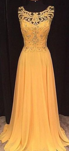 Prom Dresses, Yellow Prom Dresses Long Yellow Prom Dress, Yellow Chiffon Long Prom Dress, Yellow Evening Dress